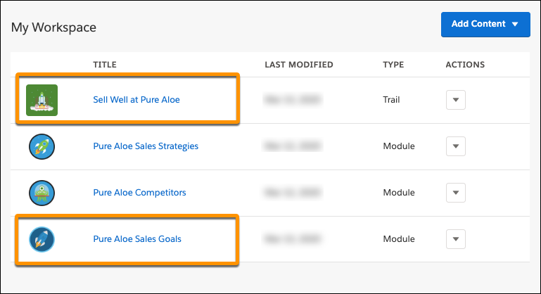 Workspace in Trailmaker Content, highlighting the trail title Sell Well at Pure Aloe and the module title Pure Aloe Sales Goals