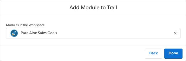 Fenêtre Ajouter un module au parcours, montrant le module Objectifs de vente de PureAloe dans les modules du champ Espace de travail