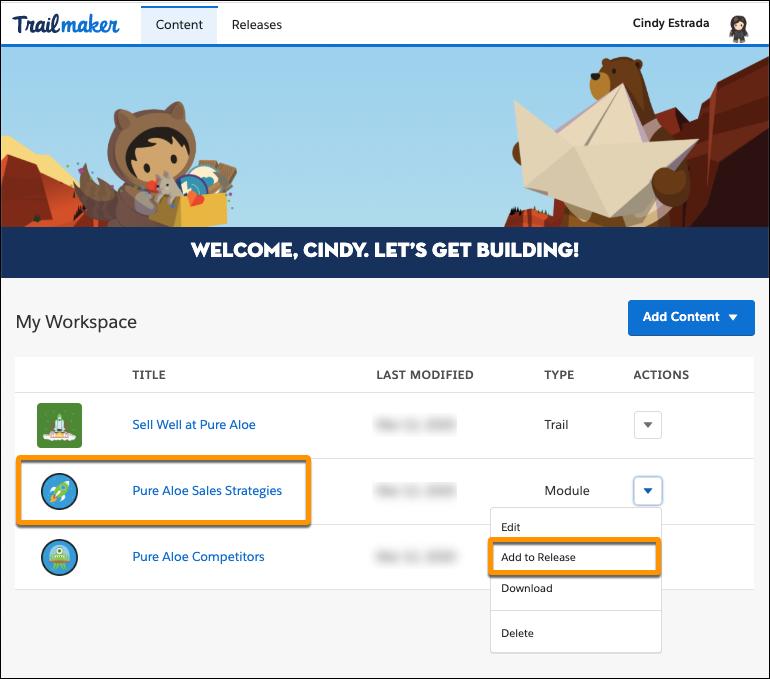 「Add Content (「Pure Aloe Sales Strategies (Pure Aloe の営業戦略)」のアクションメニューの [Add to Release (リリースに追加)] が強調表示されている Trailmaker Content のワークスペース