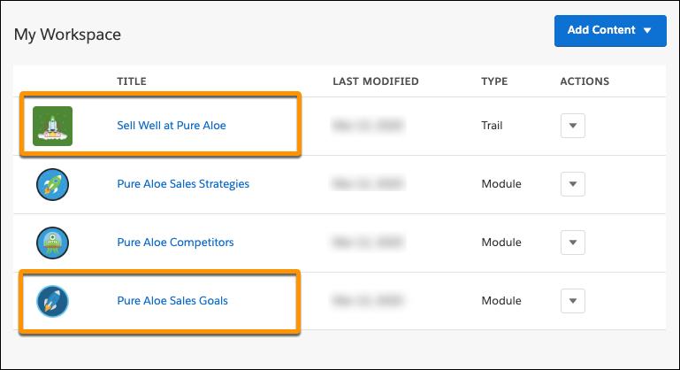 トレイルタイトル「Sell Well at Pure Aloe (Pure Aloe で売上を伸ばす)」とモジュールタイトル「Pure Aloe Sales Goals (Pure Aloe の販売目標)」が強調表示されている Trailmaker Content のワークスペース