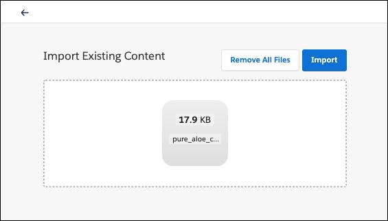 Campo Importar conteúdo existente, mostrando um backpack a importar