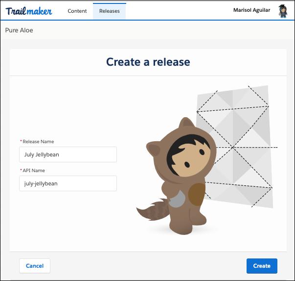 Bildschirm zum Erstellen einer Version in Trailmaker Release
