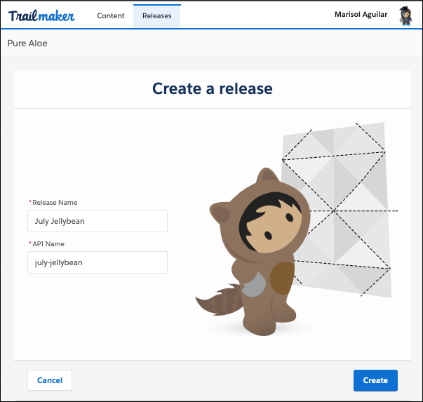 Trailmaker Release の [Create a release (リリースの作成)] 画面
