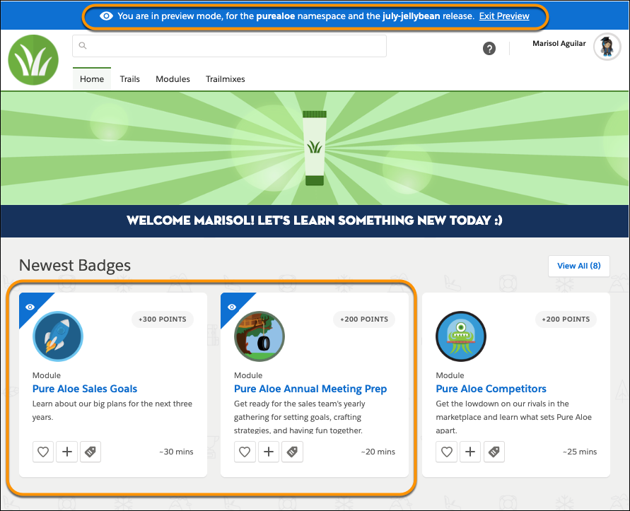 Página inicial do myTrailhead no modo de visualização que mostra o banner de alerta, os módulos com ícones de olho e o módulo sem ícone de olho