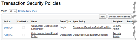 Transaction Security policies page showing the supplied policies.