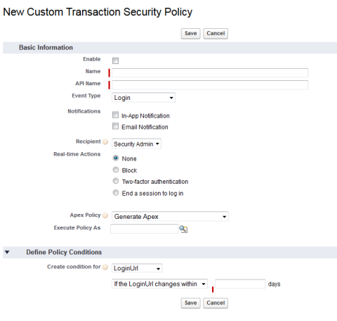 Transaction Security page for creating a new policy.