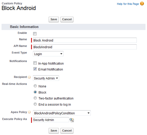 Edit screen for the Block Android policy.