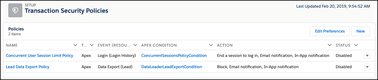 A listview that shows two available transaction security policies: Concurrent User Session Limit Policy and Lead Data Export Policy