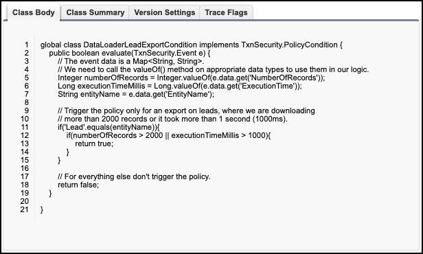 """A screenshot of the DataLoaderLeadExportCondition transaction security policy. The comments in the code say, """"Trigger the policy only for an export on Leads, where we are downloading more than 2000 records."""""""