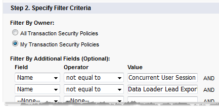The filter values to remove the supplied policies from the policy view.