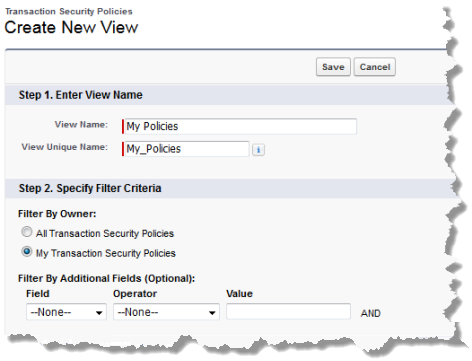 The top half of the Create New View page with the values for a view showing only the user's policies.