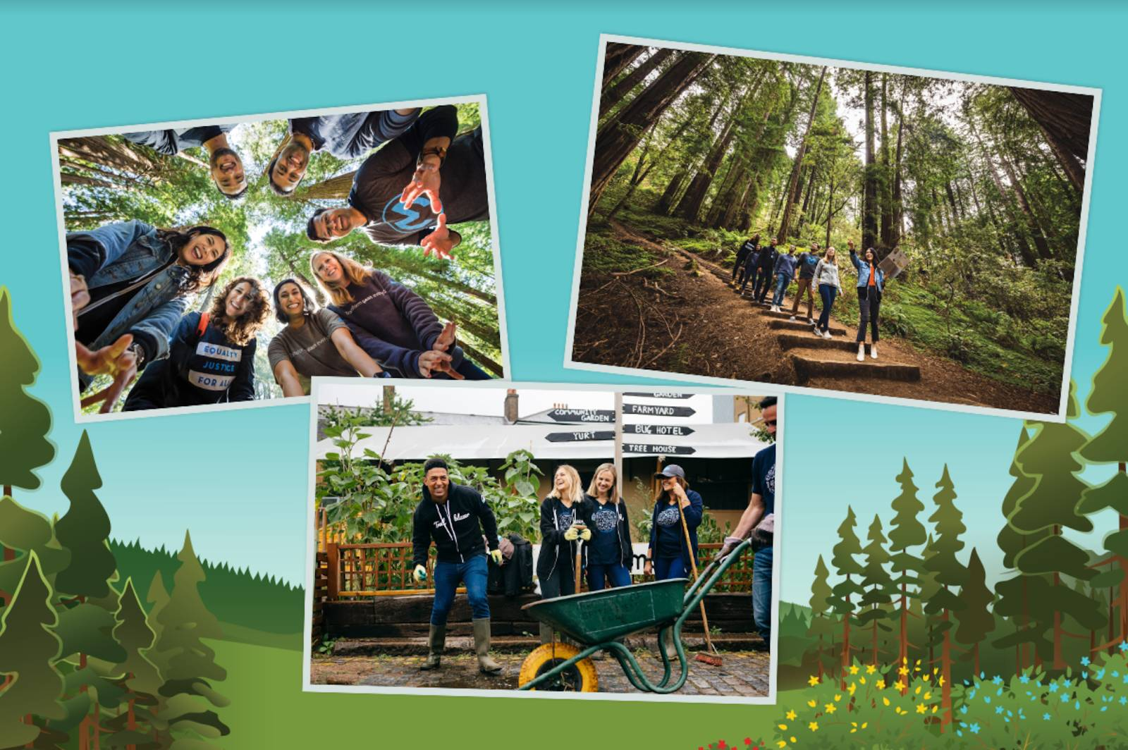 Photo collage of Salesforce employees working outdoors on various tree volunteering projects.