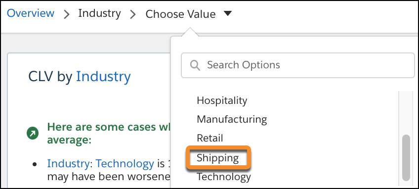 Selecting Industry as Shipping.