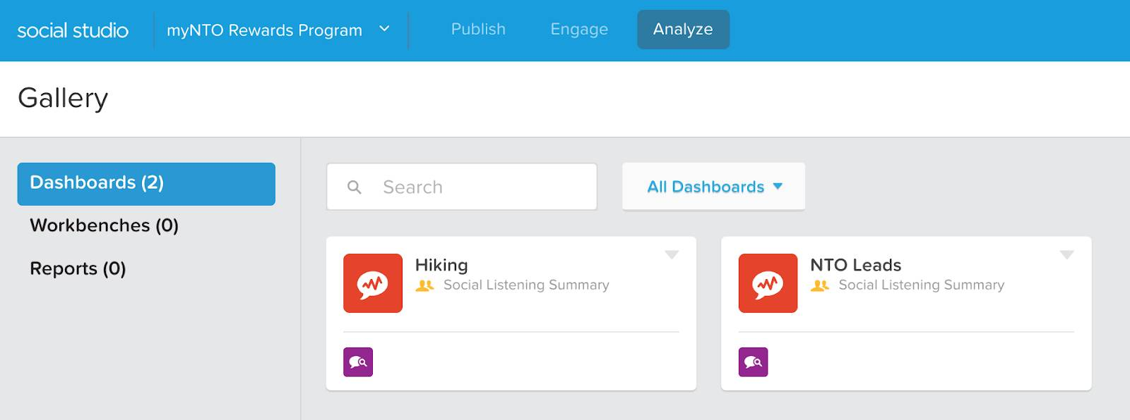Analyze dashboard view in Social Studio with two dashboards: Hiking and NTO Leads.