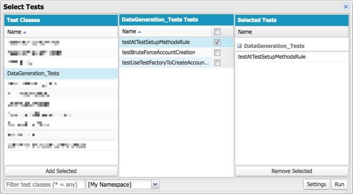 Developer Console Select Tests, showing DataGeneration_Tests and testAtTestSetupMethodsRule selected.