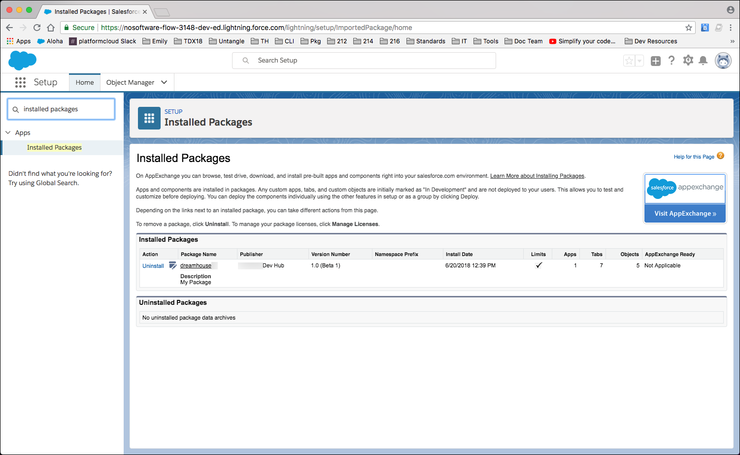 "Shows the Installed Packages dialog with ""dreamhouse"" listed under Installed Packages. You can also see the Dev Hub name, package version, and installation date and time."