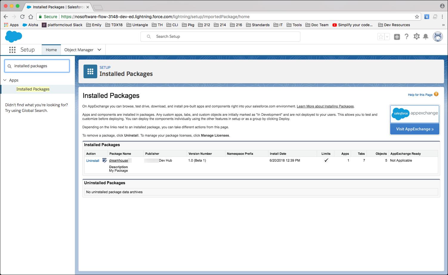 Zeigt das Dialogfeld 'Installierte Pakete' mit 'dreamhouse' unter 'Installierte Pakete'