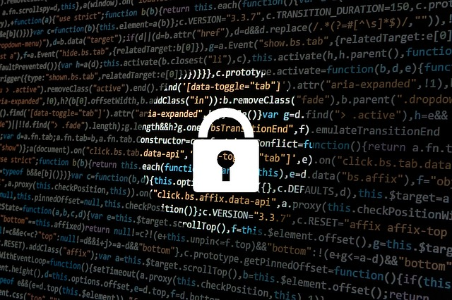 Padlock over a screen of computer code