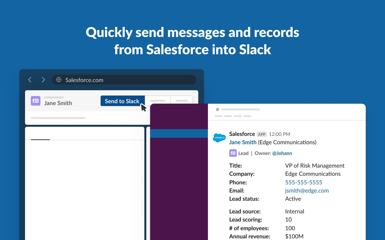 Image of a Salesforce lead record for Jane Smith with the Send to Slack button highlighted