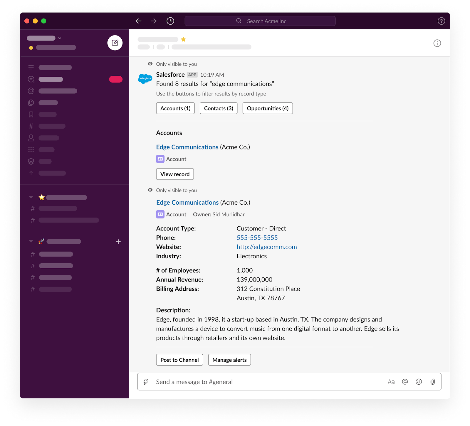 A user searches and previews Salesforce records for Edge Communications in Slack