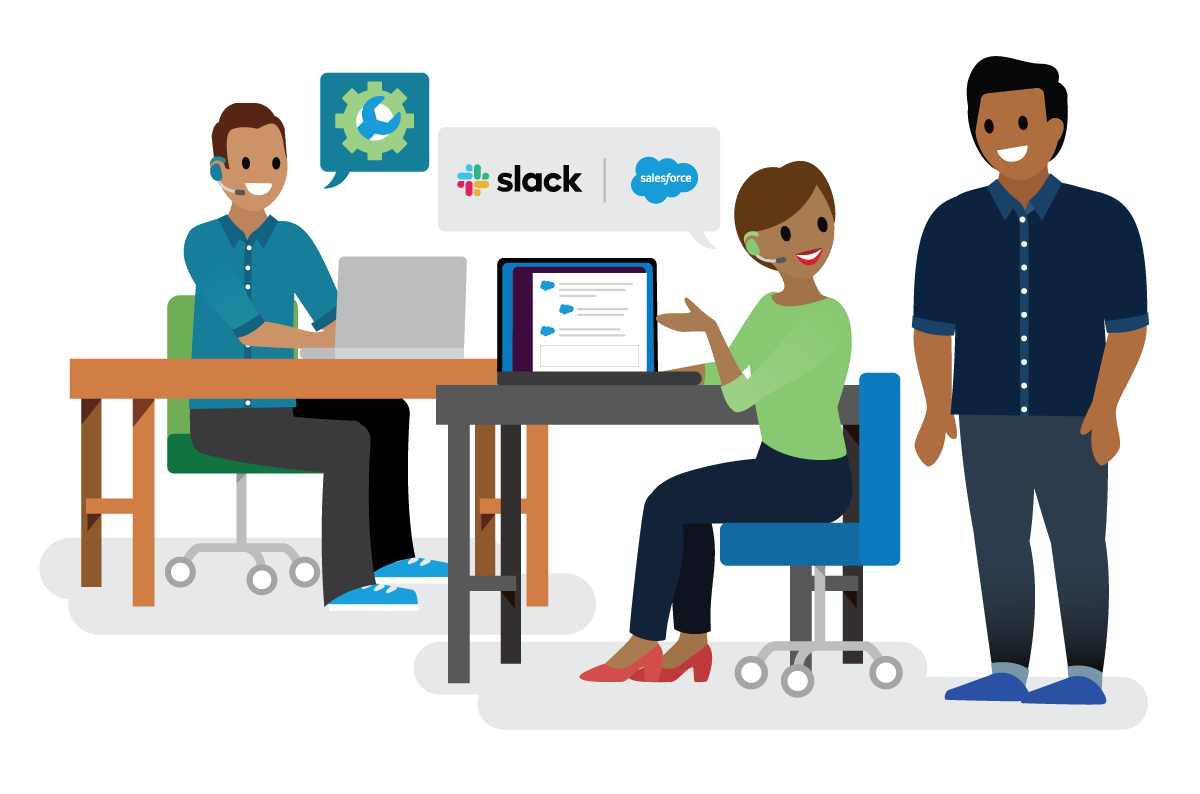 Image of a customer service representative using the Salesforce for Slack integration on a computer, sitting next to a technical representative, and helping a customer.