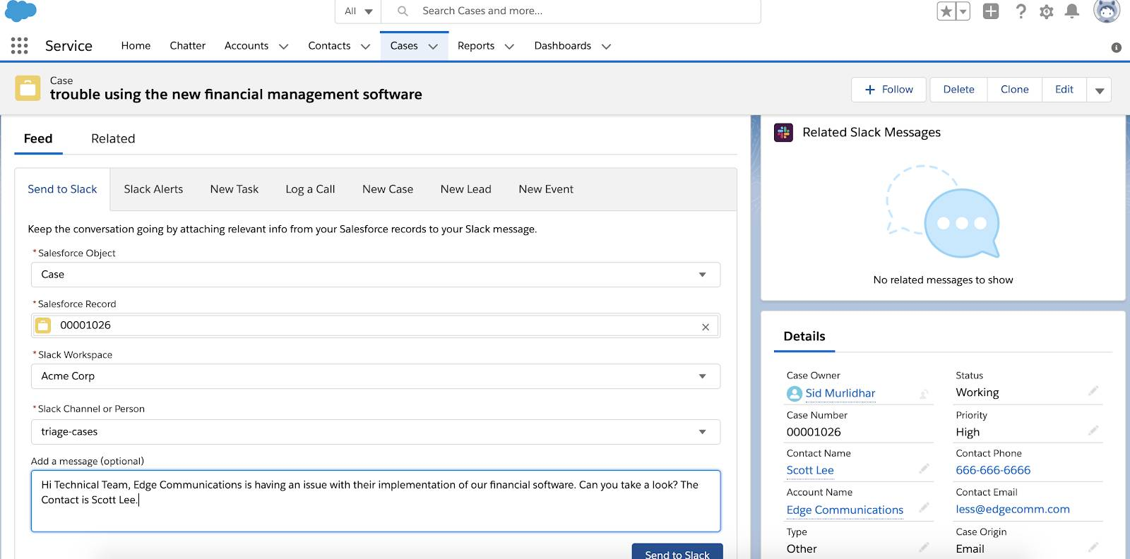 Image of the Case in Salesforce with the Feed tab with the Send to Slack action highlighted, with a message for the technical team