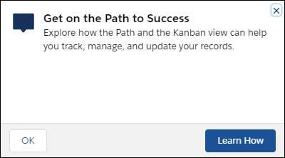 Eine unverankerte Aufforderung mit folgendem Wortlaut: Wählen Sie den Pfad zum Erfolg. Erkunden Sie, wie Sie anhand der Funktion Path und mit der Kanban-Ansicht Ihre Datensätze nachhalten, verwalten und aktualisieren können. Es gibt zwei Schaltflächen: 'OK' und 'Weitere Infos'.