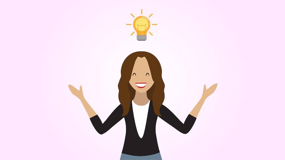 Person mit einer Glühbirne über dem Kopf, die ein Aha-Erlebnis hat