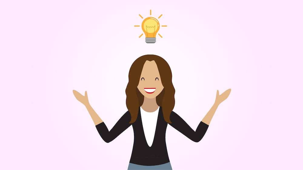 Person with a lightbulb above their head having an aha moment