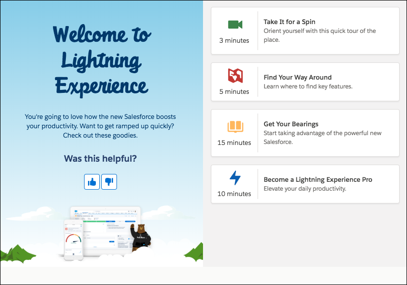 """Welcome mat for users the first time they land in Lightning Experience. It offers four """"helpful goodies,"""" titled: Take It for a Spin, Find Your Way Around, Get Your Bearings, and Become a Lightning Experience Pro."""