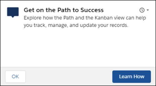 Um prompt flutuante que diz: Entre no caminho do sucesso. Explore como a visualização Path e Kanban podem ajudá-lo a rastrear, gerenciar e atualizar seus registros. Existem dois botões: OK e Aprenda como.