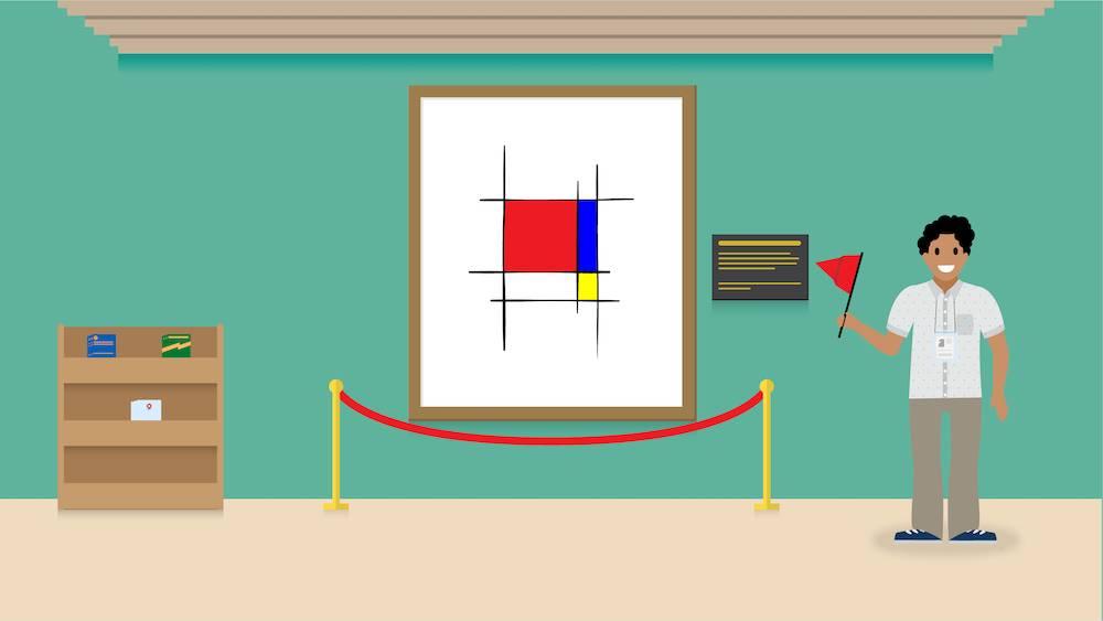 Persona en un museo de arte