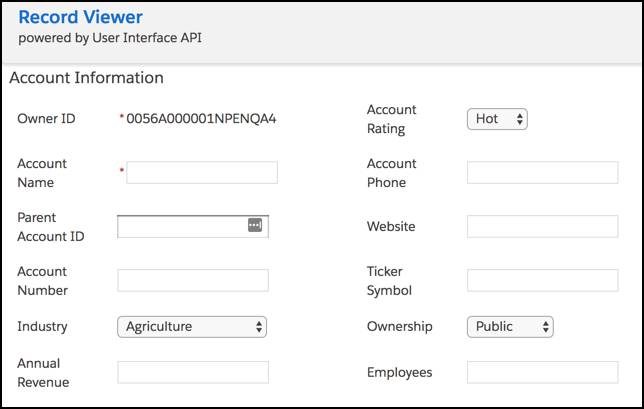 A form with empty, editable fields for creating an account.