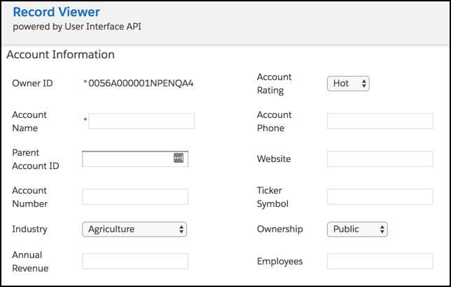 Un formulario con campos modificables vacíos para crear una cuenta.