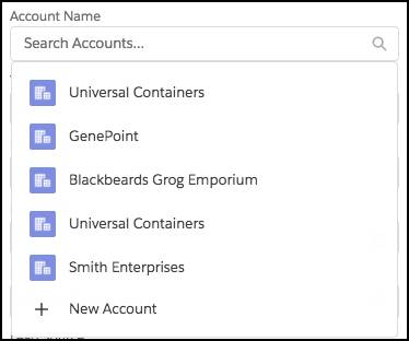 Lookup UI for an Account name. The dropdown contains suggestions.