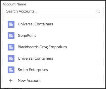 Nachschlageoberfläche für einen Accountnamen Das Dropdown-Feld enthält Vorschläge.