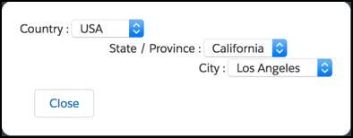 O editor de lista de opções dependente mostra menus para País, Idioma, Estado e Cidade.