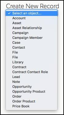 作成するオブジェクトのリストが含まれる新規レコードポップアップメニュー。