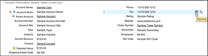 Editor de layout de página com o campo Fax selecionado.