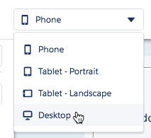 Screen shot showing view selector being changed from phone to Desktop