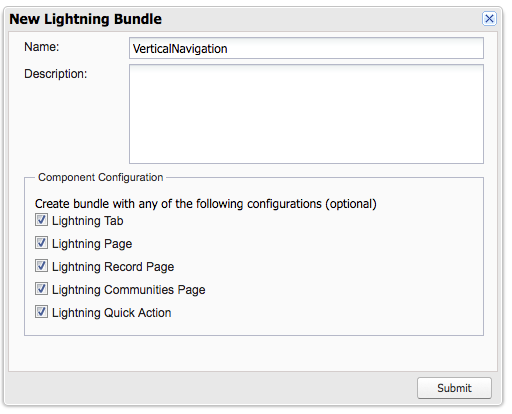 Screen shot showing New Lightning Bundle modal with Name VerticalNavigation and all configuration options checked