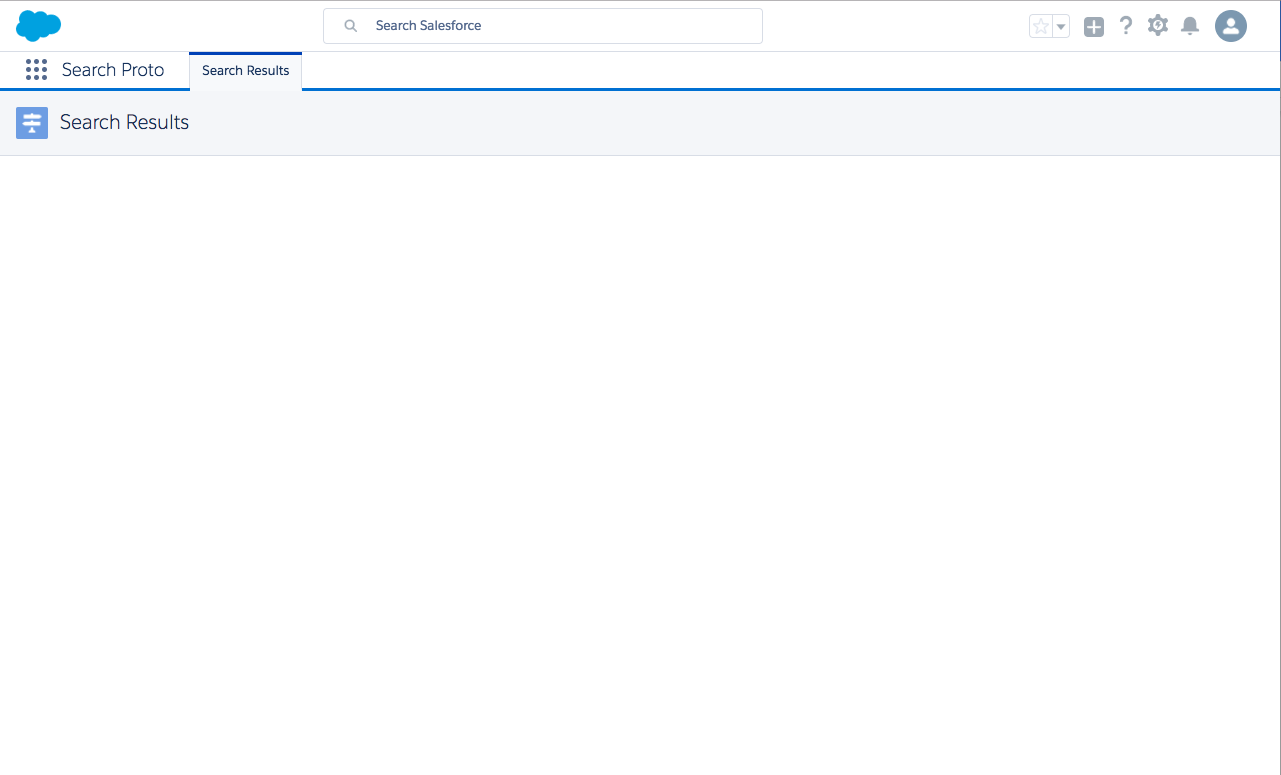 Screen shot showing blank Search Results page in our Trailhead Playground