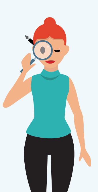 image of researcher with magnifying glass