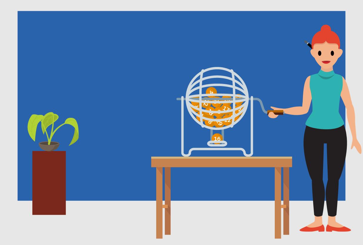 image of researcher turning handle on bingo basket
