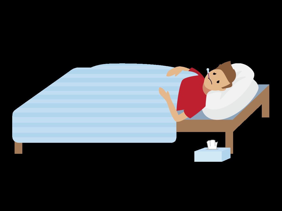 Ein krank aussehender Mensch liegt im Bett