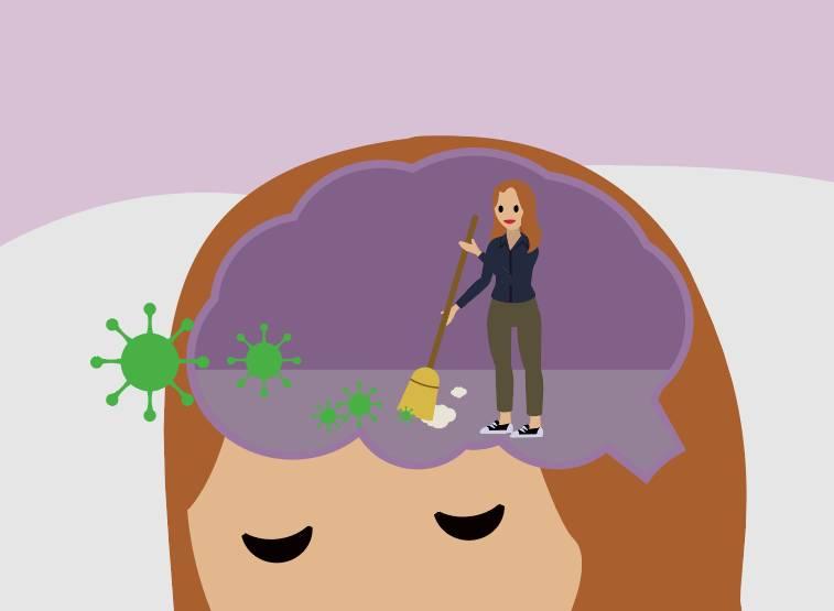 Bild einer Frau, die ein Gehirn ausfegt, als Metapher für die Reinigungsfunktion von Schlaf
