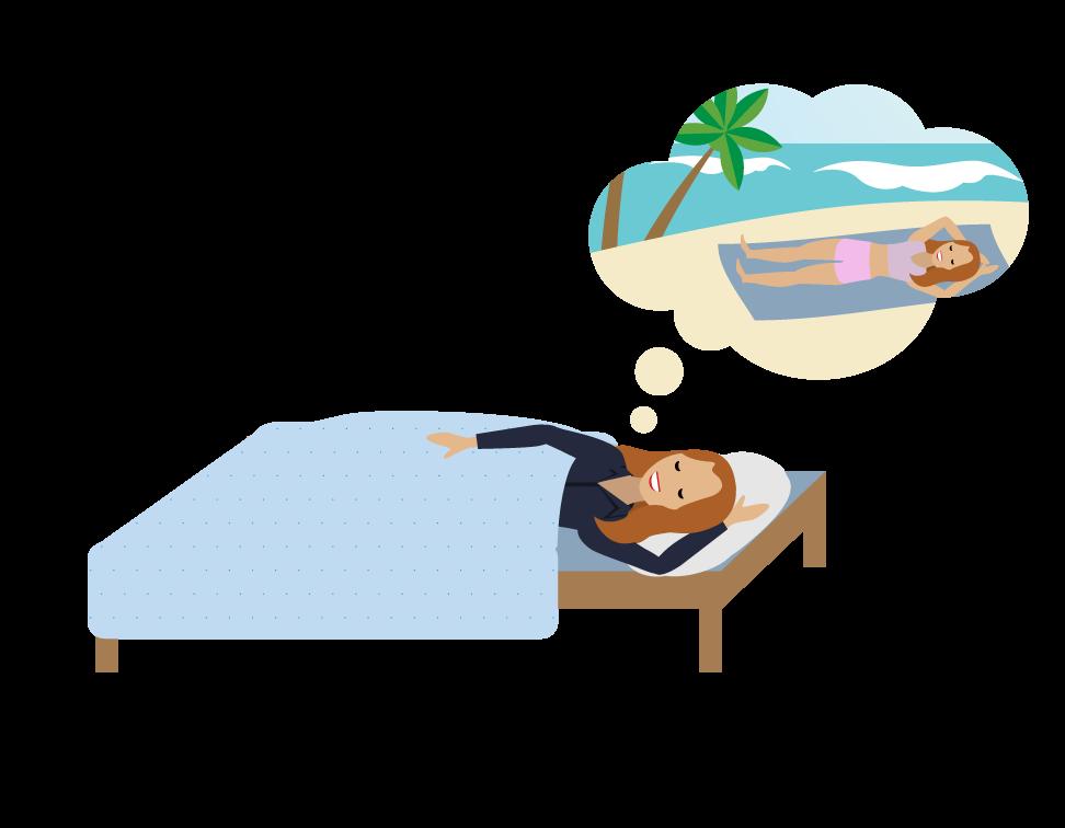 Ein Mensch, der träumt, am Strand zu liegen