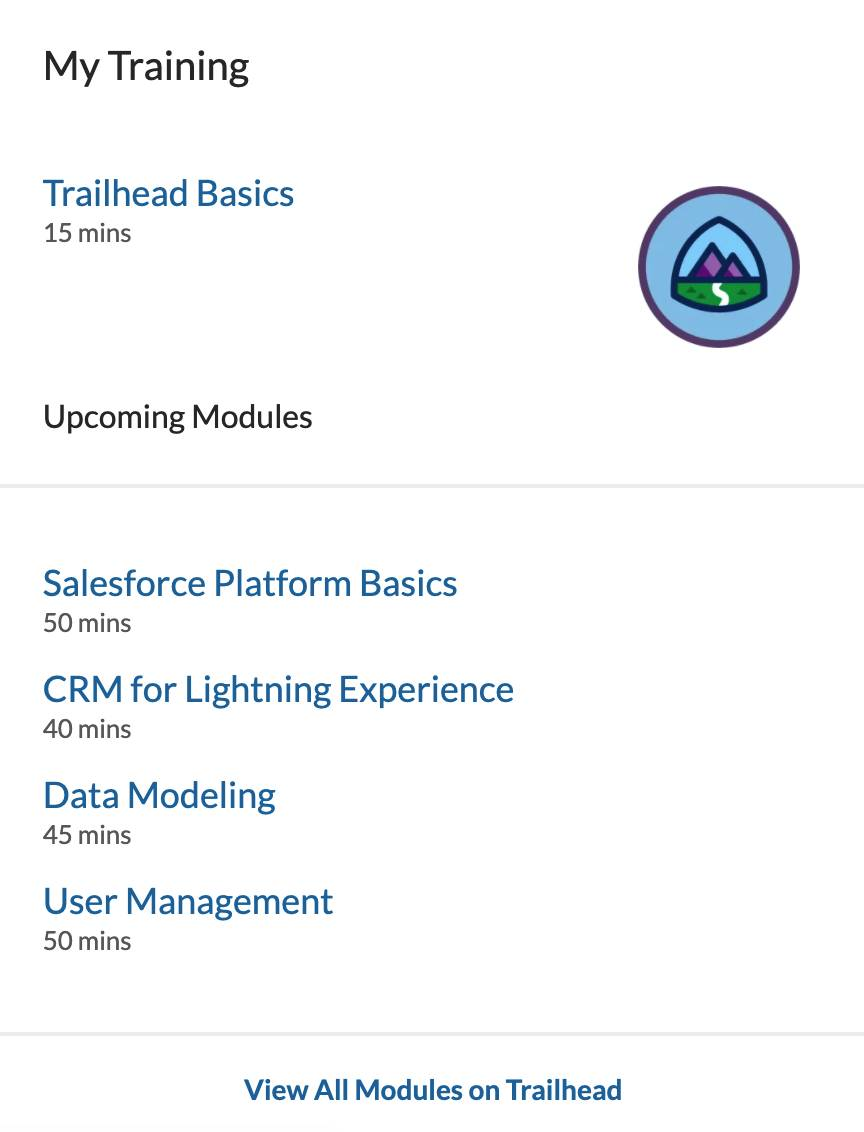 Alt text: The interface for My Training, which includes links to the next Trailhead modules to complete.
