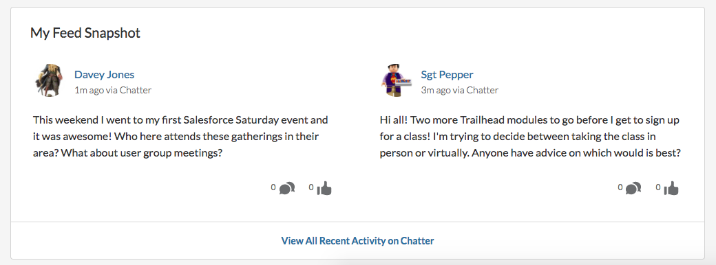 Alt text: The interface for My Feed Snapshot shows two posts from members of the Trail Crew.