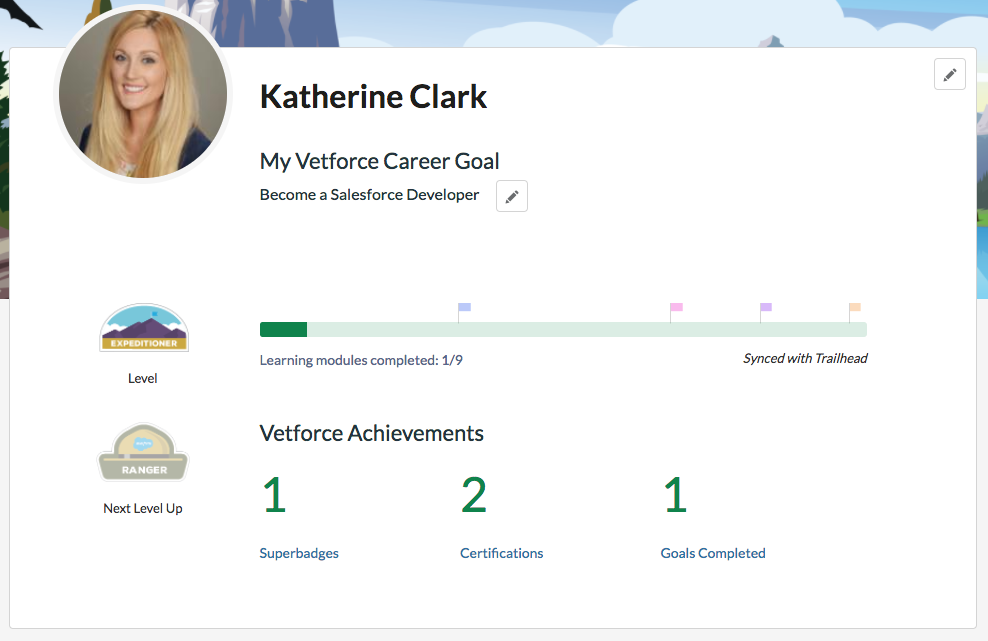 Alt text: The home screen in Vetforce showing a progress bar with milestone flags, and number of completed superbadges, certifications, and goals.